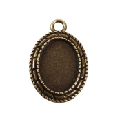 Beadthoven 10pcs Vintage Tibetan Style Alloy Pendant Cabochon Bezel Settings, Nickel Free, Antique Bronze, Oval Tray