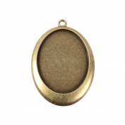 Beadthoven 10pcs Vintage Tibetan Style Alloy Pendant Cabochon Bezel Settings, Nickel Free, Antique Bronze, Oval Tray