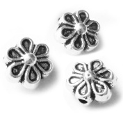 Heather's cf 200 Pieces Silver Tone Tiny Chrysanthemum Flat Beads Findings Jewellery Making 6mm
