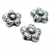 Heather's cf Silver Tone-Flowers-Smooth Flat Beads Findings Jewellery Making