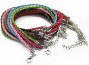 "ALL in ONE Mixed Colour Braided Leather Cord Necklace with Lobster Clasp Extended Chain 17""-19"""