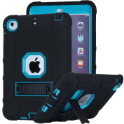 iPad Mini 2 Case, iPad Mini 3 Case, iPad Mini Case, Asstar [Kickstand Feature] 3in1 Hybrid Hard PC Soft Silicone [Kids Friendly] Shockproof High Impact Combo Defender for iPad Mini 1/2/3