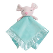Snooze Baby Security Blankets Ultra Soft Plush Breathable Snuggle Blanket Smiling Mouse, Pink & Aqua