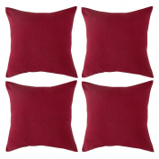 Deconovo Throw Cushion Faux Linen Home Decorative Hand Made Pillow Case Cushion Cover For Travel Use 46cm x 46cm Red Set of 4