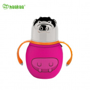 Haakaa 300ml Wide Neck Food Grade Stainless Steel Baby Bottle with a Wide Neck Food Grade Silicone Nipple and a Pure Cotton Cover (Rose Pink