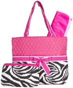 Ever Moda Pink Zebra Print Quilted Nappy Bag with Change Pad