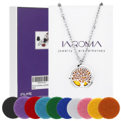 JAROMA Premium Tree of Life Aromatherapy Essential Oil Diffuser Necklace Locket Pendant, Hypo-allergenic 316L Surgical Grade Stainless Steel Jewellery with 60cm Chain and 10 Washable Pads