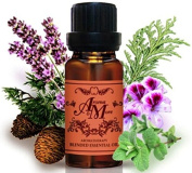 Happy : A Pleasant aroma blend of Geranium, Lavender, Cypress, Cedarwood and Peppermint Pure Essential Oil 100% 100 ml (1 1/3 Fl Oz) Premium Grade-Beauty