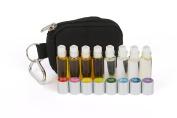Essential Oil Pocket Roller Ball Keychain Kit (doTERRA compare) - (8) 4ml Roll-on Bottles filled w/ Frankincense, Lavender, Bergamot, Peppermint, Tea Tree, Oregano, Lemongrass, Eucalyptus