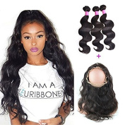 "XCCOCO Hair Mixed Lenth Hair 8A Grade Brazilian Body Wave Human Hair 3Bunldes With 360 Full Lace Frontals 22.5""x4""x2"" Body Wave Lace Band Frontal Closure"