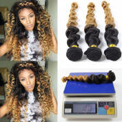 Loose Wave Peruvian Hair 3 Bundles, Babe Hair Wet and Wavy 1B/27 Peruvian Virgin Hair Curly Weave 2 Tone Ombre Hair Extensions Human Hair Weave Bundles Blonde