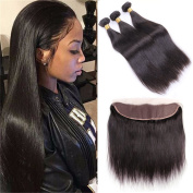 HANNE Ear to Ear Lace Frontal with Bundles Virgin 7A Brazilian Straight Hair 3 Bundles with Frontal Free Part