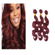 XCCOCO Hair Brazilian Body Wave Virgin Hair 3 Bundles 99J Burgandy Red Hair Wefts Grade 7A Unprocessed Virgin Human Hair Weave Extensions
