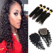 Charming Unprocessed Brazilian Deep Curly Hair 4 Bundles with 4X4 Free Part Lace Closure Remy Human Hair Natural Colour