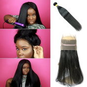 Maoyuan Hair Bands 360 Lace Frontal Closure with Bundles Virgin Brazilian Straight Hair Natural Hairline Natural Black Colour