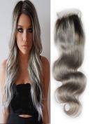 Lili Beauty Ombre Brazilian Virgin Human Hair Body Wave Lace Closures Bleached Knots Free Part 10cm x 10cm #1b/Grey 60cm