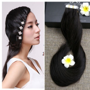 Full Hair 60cm Off Black (#1B) 40 Pcs 100g Per Set Pu Tape in 100% Remy Human Hair Extensions Fashion Tape in Hair Extensions