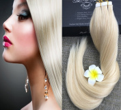 Full Hair 60cm Light Blonde (#60) 40 Pcs 100g Per Set Pu Tape in 100% Remy Human Hair Extensions Fashion Tape in Hair Extensions