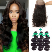 """MIssIvy Hair Brazilian Virgin Hair Body Wave Human Hair 360 lace frontal Band Closure 60cm x 10cm x 2"""" Body Wave Hair Around Natural Hairline with 3 Bundles for Black Women 18 18 18+41cm"""