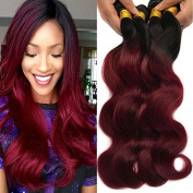 XCCOCO Hair Best Quality Brazilian Virgin Hair Extension Body Wave,1b/Burgandy Mixed Length Hair Bundles,2 Tone Ombre Bundles Hair