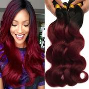 XCCOCO Hair Best Quality Brazilian Virgin Hair Extension Body Wave,1b/Burgandy Mixed Length Hair Bundles,2 Tone Ombre Bundles Hair