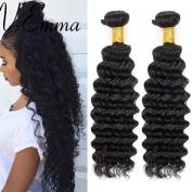 V-Emma Brazilian Virgin Deep Wave Hair Weave 2 Bundles Unprocessed Remy Hair Weft Extensions Human Hair Natural Colour 70cm
