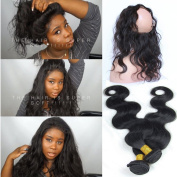 "Youth Beauty 8A Grade Brazilian Virgin Human Hair Body Wave 2 Bundles With 360 Full Lace Band Frontals 22.5""x4""x2"" Lace Band Frontal Closure With Baby Hair"