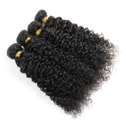 Curly Hair Extensions, Babe Hair 7A 100g/pc Malaysian Virgin Hair Kinky Curly 4 Bundles Deal 100% Real Human Hair Weave Remy Hair Products, Natural Colour, Set of 400g410ml