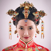 Golden Pure Copper Baked Blue Chinese Coronet Cheongsam Comb Hairpins Frontlet Set