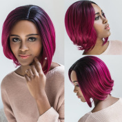 AISI Synthetic Hair Wig Short Straight Bob Wig for Woman Ombre Colour Black With Red + a free wig cap