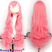 Rossy & Nancy Long Wave Synthetic Cosplay Wig 130% High Density Free Part with Side Bangs for Black Women 60cm