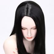 QDBowin Queen Hair 60cm Straight Long Beautiful Black Wig Hair Middle Part