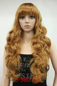 Fashion Synthetic Hair Wigs Long Curly Brown Harajuku Ladies Wigs with Neat Bangs for Young Women