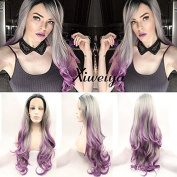 Xiweiya Ombre black grey to purple Wigs For Women Hairstyle Wig Girls Synthetic Lace Front replacement long wavy Wig With Heat Resistant