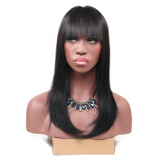 Secretgirl Women's Elegant Long Straight Hair Wigs with Full Bangs Party Daily Use Black Wig
