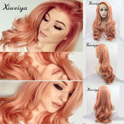 Xiweiya Fashion Orange Pink Lace Wig Glueless Long body Wavy Middle Part Synthetic Lace Front Wigs For Women Half Hand Tied Heat Resistant