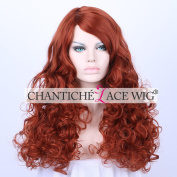 Chantiche Affordable Full Machine Made Synthetic None Lace Wigs Curl Side Parting Copper Red Synthetic Full Hair Wig for Women 60cm