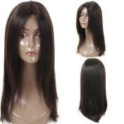 Lace Front Human Hair Wigs (Silk Base Closure) Lace Front African American Bob Wig For Black Women 130% Density Naturl Colour 46cm