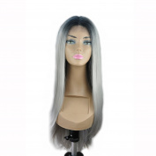 GEX 46cm - 70cm Synthetic Front Lace Wigs Straight Front Hand Knotted Fibre Full Wigs Ombre Piano Colour 1BGray 70cm