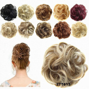 FESHFEN Donut Hair Chignons Wig Strawberry Blonde & Bleach Blond Ombre Hairpiece Scrunchy Hair Bun Updo Hairpiece Ponytail Extensions Hair Extensions Wavy Curly Messy Hair Bun Extensions