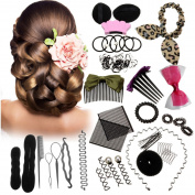 45PCS Hair Styling Kit LuckyFine Hairdresser Magic Hair Clip Styling Pads Foam Sponge Bun Donut Hair Clip Accessory Tool