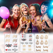 6 Sheet Premium Temporary Tattoos Bridal Bachelorette Party Tattoo Metallic Women Makeup Art