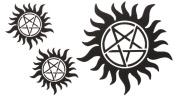 Yeeech Temporary Tattoo Sticker Paper Supernatural Circle Pentagram Sun for Arm Chest