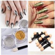 NICOLE DIARY Gold +Silver Mirror Powder Chrome Pigment with Brushes DIY Nail Art Decoration