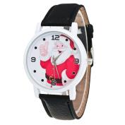 AMA(TM) Fashion Christmas Santa Claus Pattern Leather Band Analogue Quartz Vogue Wrist Watch