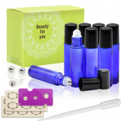 8, 10ml Cobalt Blue Glass Roller Bottles With Stainless Steel Roller Ball for Essential Oil by Mavogel - Include 3 Extra Roller ball, 12 Pieces Labels, Essential Oils Opener, 3ml Dropper