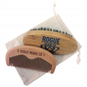 BEARD BRUSH COMB SET - Wooden Boar Hair Bristle Beard Brush + Wooden Comb Set by Rogue Beard Company - Perfect For a Beard Grooming Kit for Men - Made of Boars Hair Bristles Firm Natural Wood