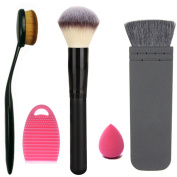 Start Makers Professional Large Makeup Powder Oval Toothbrush Curve Foundation Flat contour Blush Makeup Brush Cleaner Egg and a Mini Makeup Sponge