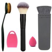 Start Makers Professional Large Makeup Powder Oval Toothbrush Curve Foundation Flat contour Blush Makeup Brush Cleaner Egg and a Mini Makeup Sponge