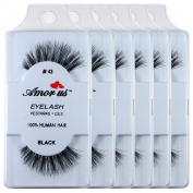 6 Pairs Amorus 100% Human Hair False Eyelashes Made in Indonesia #43